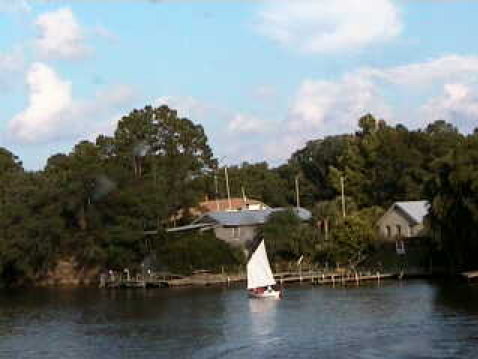 John Guider on sailing on the intracoastal waterway near Homeport Marina in Alabama. Screen capture from marina webcam.
